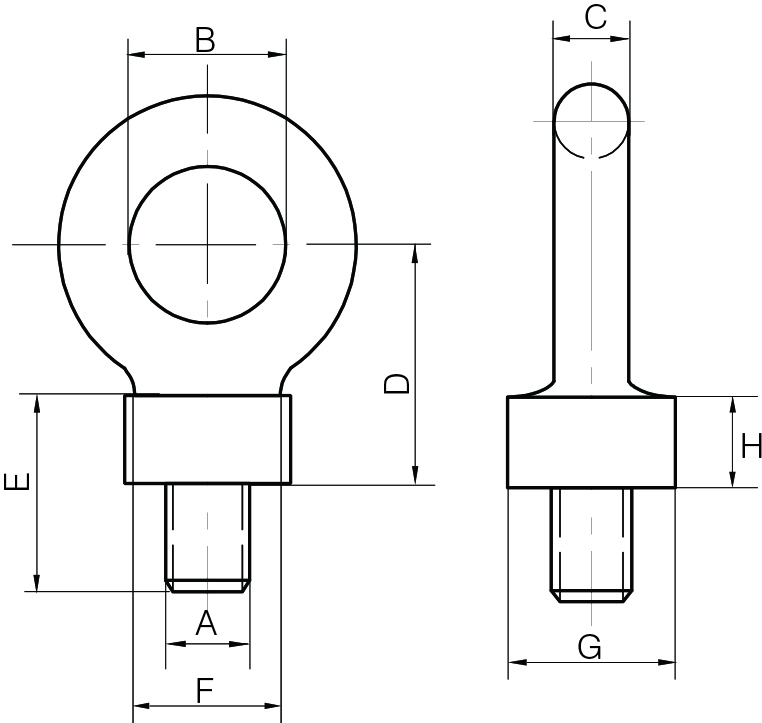 Drop Forged Dynamo Eyebolts Commercial Pattern - BSW Thread
