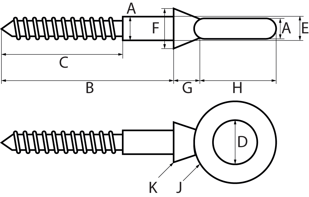 St/Steel Eyebolt with Lag ThreadWoodscrew Thread