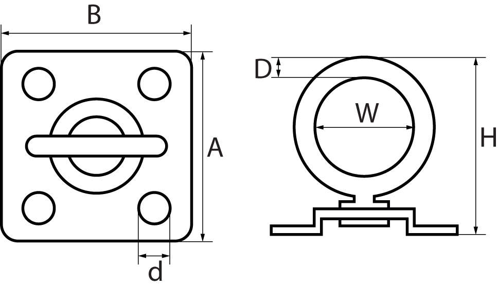 Four Hole Swivel Eye Plates