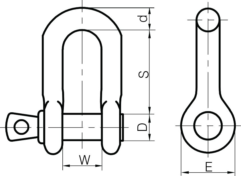 Galvanised Small Dee Shackles to BS 3032 1958 Type A Pins