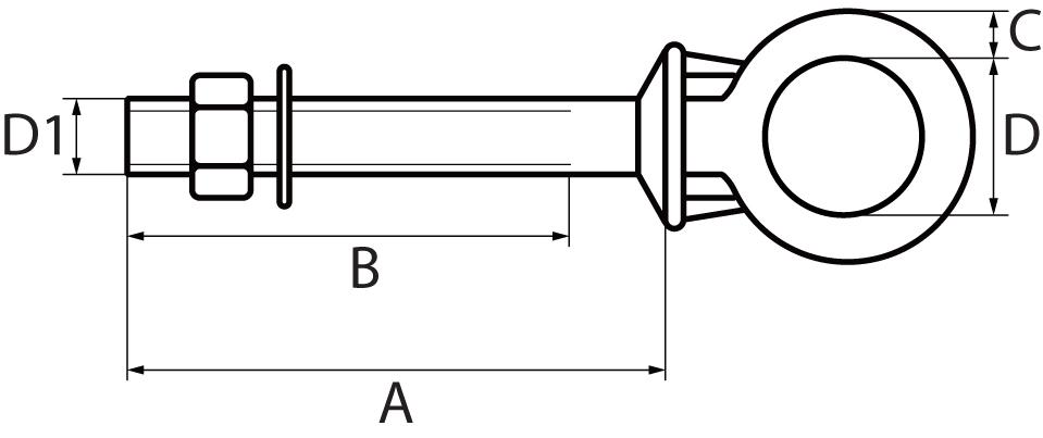 St/Steel Long Shank Eyebolt with Nut & Washer