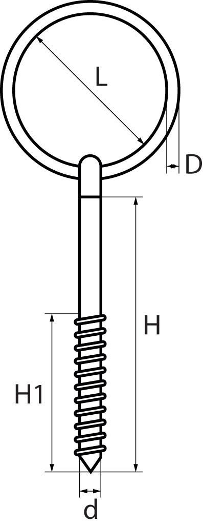St/Steel Ringbolt with Lag ThreadWoodscrewthread