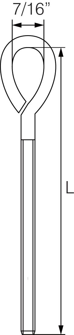 Straining Eyeboltscomplete with Nut & Washer- Zinc Plated - Folded Eye 10mm